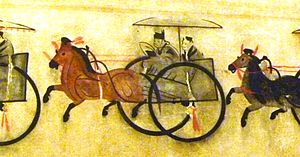 Chariots in ancient China - Powerful landlord in chariot. Eastern Han 25-220 CE. Anping, Hebei.