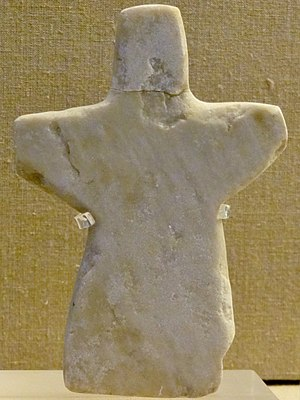 Phylakopi - Phylakopi-style marble figurine, 2200–2000 BC. Prehistoric Museum of Fira, Thera
