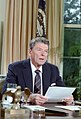 President Ronald Reagan speech to the nation on the space shuttle Challenger in oval office.jpg