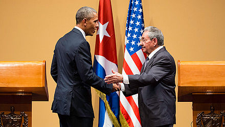 US President Barack Obama and Cuban President Raul Castro, in Havana, March 2016. Obama's visit to Cuba was the first by an American president in more than 80 years. Press conference, Havana.jpg