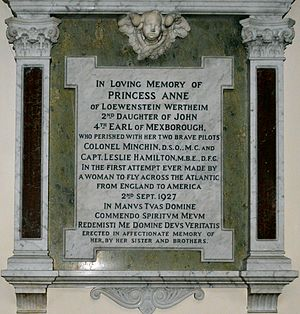 Princess Anne of Löwenstein-Wertheim-Freudenberg - Monument to Princess Anne of Loewenstein Wertheim in St Raphael's Church, Surbiton