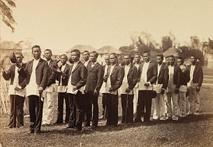 Gobernadorcillo - Principalía of Leganes, Iloilo c. 1880, in formal marching formation on a special occasion.