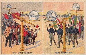 Italian general election, 1924 - Postcard promoted by the fascist propaganda.