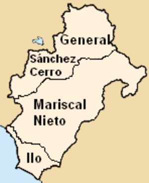 Moquegua Region - Map of the Moquegua region showing its provinces
