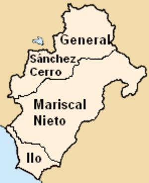 Moquegua Region - Map of the Moquegua region showing its provinces