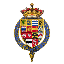 Quartered arms of Sir Ambrose Dudley, 3rd Earl of Warwick, KG.png