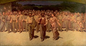 1900 (film) - The initial credits are displayed over a zoom out of Giuseppe Pellizza da Volpedo's The Fourth Estate.