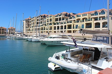 Queensway Quay Marina, along with Ocean Village, are two exclusive residential districts Queensway Quay in Gibraltar.jpg