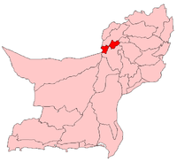 Map of Quetta with Quetta District highlighted