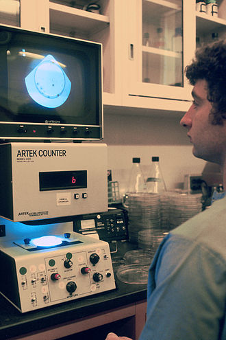 Agar plate - An agar plate being viewed in an electronic colony counter
