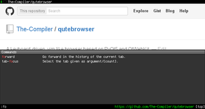 qutebrowser running in the command mode.