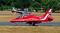 RAF Red Arrows Red3 lands as Frecce Tricolori solo pilot taxis (43524884962).jpg