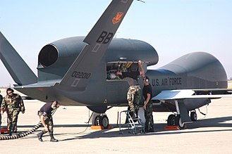 Northrop Grumman RQ-4 Global Hawk - A maintenance crew preparing a Global Hawk at Beale Air Force Base