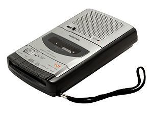 Cassette deck - A typical portable desktop cassette recorder from RadioShack.