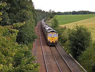Glasgow South Western Line - A coal train from Ayrshire heads towards England