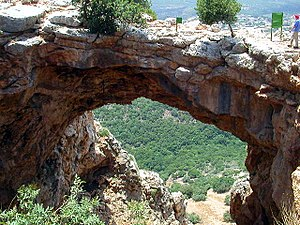 Galilee - Keshet Cave (Rainbow Cave or Cave of the Arch), a natural arch on the ridge north of Nahal Betzet, Galilee