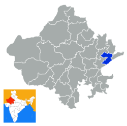Location of Karauli district in Rajasthan