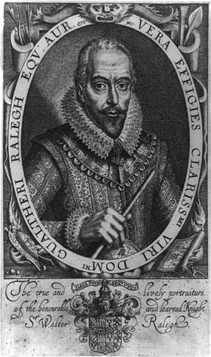 Walter Raleigh - Engraved portrait of Raleigh