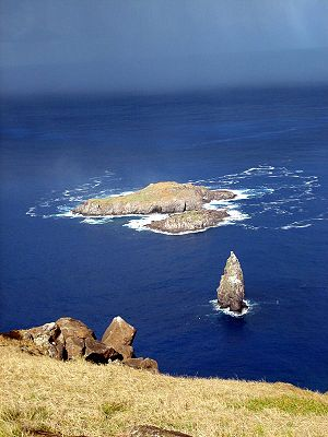 Easter Island - Motu Nui islet, part of the Birdman Cult ceremony