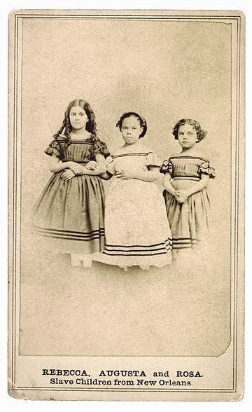 Mixed-race slave girls of predominant European ancestry, New Orleans, 1863 RebeccaAugustRosaSlaveChildren.jpg