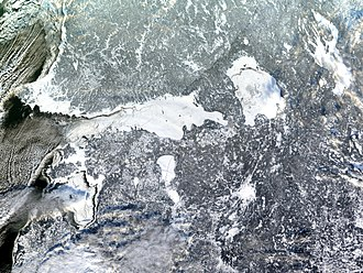 Gulf of Finland - Satellite image showing the gulf entirely frozen over in January 2003.