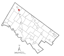 Location of Red Hill in Montgomery County, Pennsylvania.