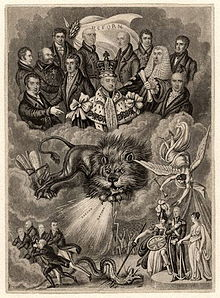 Political cartoon supporting the Reform Act: King William sits above the clouds, surrounded by Whig politicians; below Britannia and the British Lion cause the Tories to flee. (Source: Wikimedia)