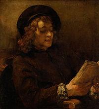 Rembrandt Harmenszoon van Rijn - Titus van Rijn, the Artist's Son, Reading - Google Art Project.jpg