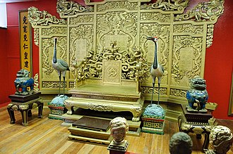 Forbidden Gardens - Replica of the Emperor Qin's throne on display at Forbidden Gardens