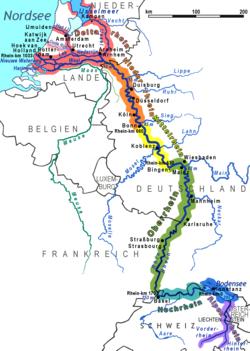 נהר ריין. חלקיו מסומנים בצבעים שונים