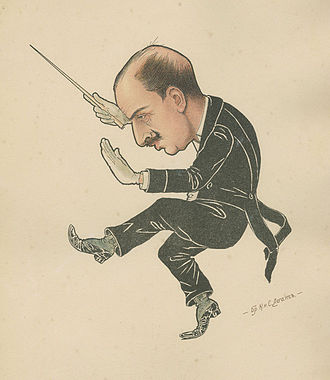 Riccardo Drigo - Caricature of Riccardo Drigo from the book The Russian Ballet in Caricatures (Рускій балетъ въ карикатурахъ) by the brothers Νikolai and Sergei Legat.