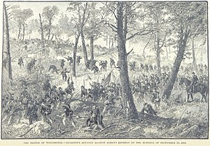 Third Battle of Winchester - Rickett's division of the VI Corps attacks Rodes's division
