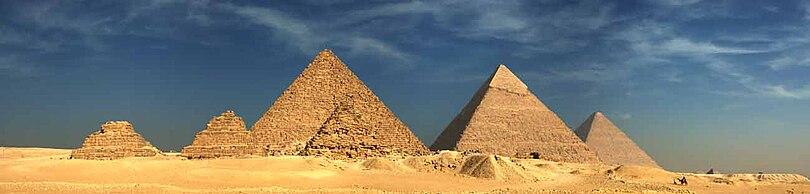 Pirâmides de Quéops, Quéfren e Miquerinos.