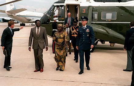 Prime Minister Mugabe departs Andrews Air Force Base after a state visit to the United States in 1983 Robert Mugabe September 1983, DF-SC-84-10031.jpg
