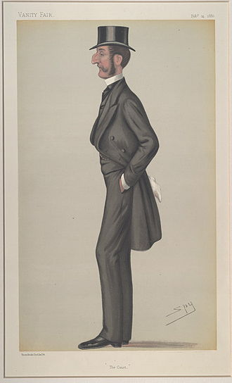 """Robert Kingscote - """"The Court"""". Caricature by Spy published in Vanity Fair in 1880."""