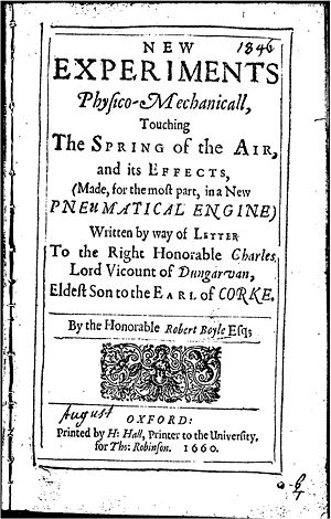 An Experiment on a Bird in the Air Pump - Title page of Robert Boyle's New Experiments of 1660, in which he detailed how to perform the experiment.