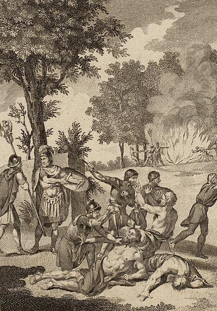 Roman soldiers killing druids and burning their groves on Anglesey, as described by Tacitus Romans murdering Druids and burning their groves cropped.jpg