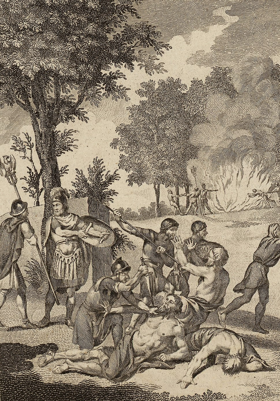 Romans murdering Druids and burning their groves cropped