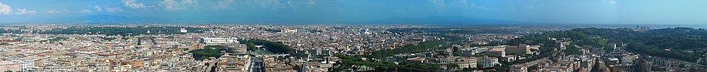 Panorama Rzymu z północnego wschodu na południe, zrobiona z kopuły Bazyliki świętego Piotra