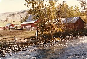Carbon County, Montana - Farm along a creek in Roscoe, Sep 1978