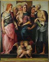Vierge à l'Enfant en majesté avec les saints Jean baptiste, Antoine abbé, Étienne et Jérôme