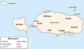 Schematic map of Rotuma indicating districts and main villages.