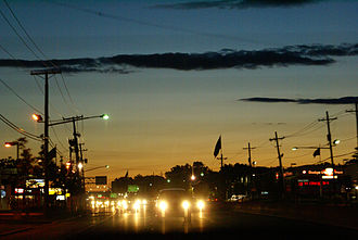 New Jersey Route 4 - Route 4 in Paramus, looking westbound at sunset.