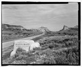 Route 92, east entrance sign with view to Mitchell Pass. View NW. - Scotts Bluff Summit Road, Gering, Scotts Bluff County, NE HAER NE-11-1.tif
