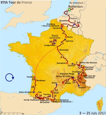 Map of France with red lines indicating the route of the 2010 Tour de France, showing that this Tour started in the Netherlands, visited the Alps and then the Pyrenees, and finished in Paris.