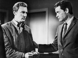 "The Invaders - Roy Thinnes and Lee Farr in a network publicity photo for the 1967 episode ""Doomsday Minus One""."