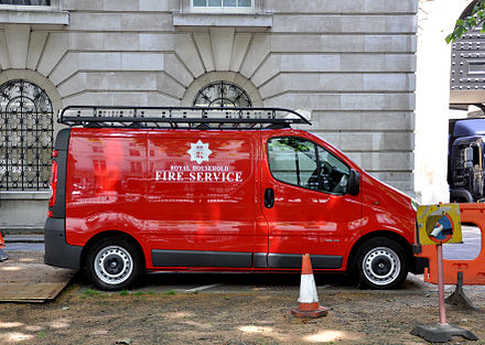 Van of the Royal Household Fire Service, Buckingham Palace Royal Household Fire Service van.jpg
