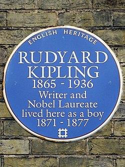 Rudyard kipling 1865 1936 writer and nobel laureate lived here as a boy 1871 1877