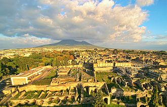 Pompeii - Ruins of Pompeii from above, with Vesuvius in the background