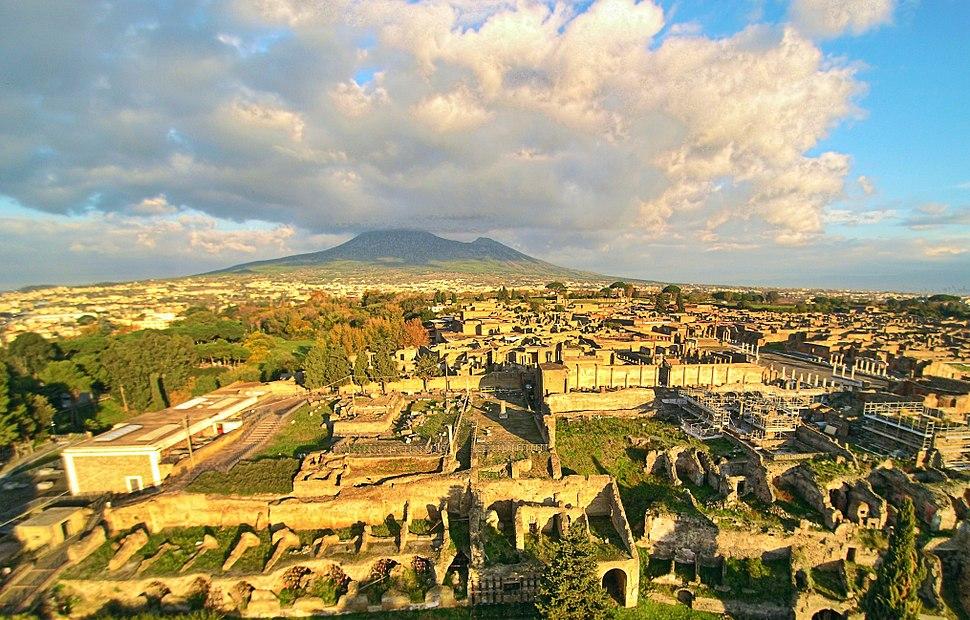 Ruins of Pompeii with the Vesuvius